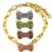 Gold Chain Swarovski Bone Pendant Necklace