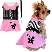 Pink Poodle Designer Dress With Leash
