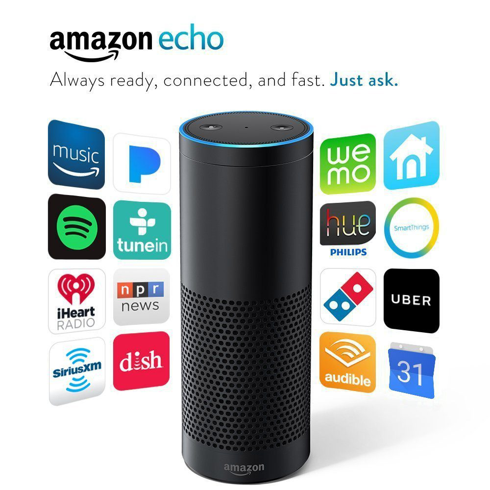 picture of amazon echo surrounded by available apps
