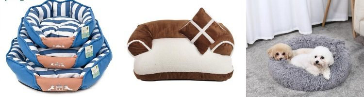 dog bed, bolster or cushion dog bed, round dog bed, pillow dog bed, plush dog bed